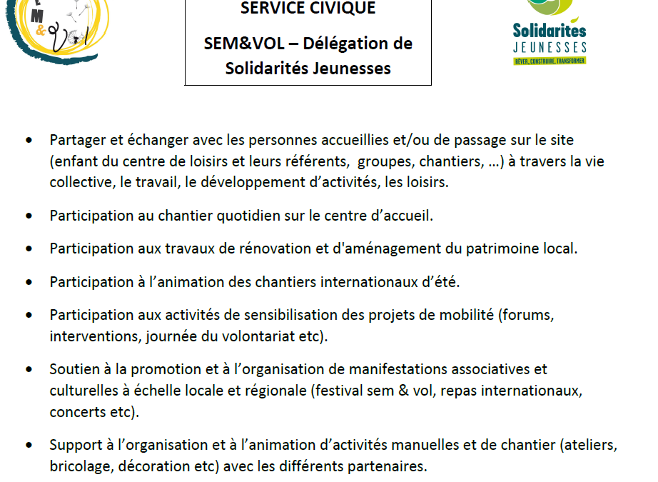 Sem&Vol recrute : Mission de service civique !