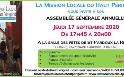 Assemblée Générale de la Mission Locale le 17 septembre de 17h45 à 20h00
