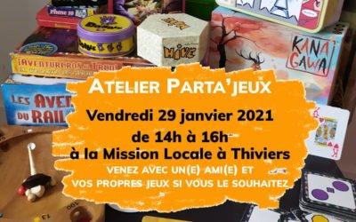 Atelier Parta'jeux Vendredi 29 janvier à Thiviers