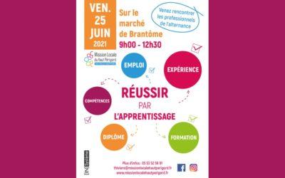 Forum «Réussir par l'apprentissage»  Vendredi 25 juin sur le Marché de Brantôme