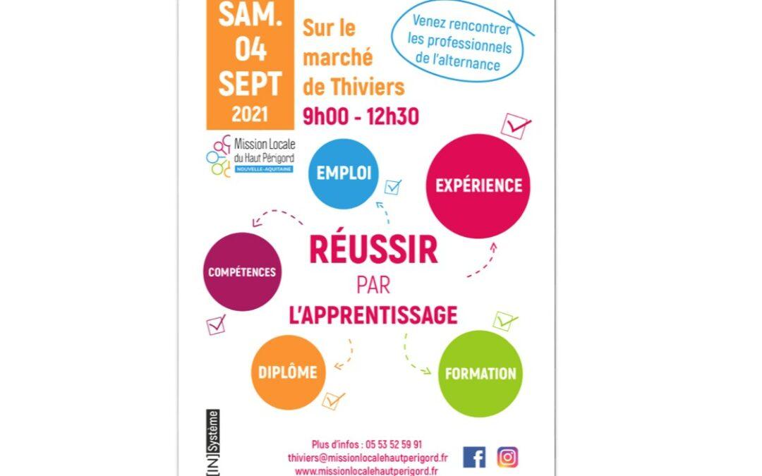 Forum «Réussir par l'apprentissage» marché de Thiviers – Samedi 4 septembre